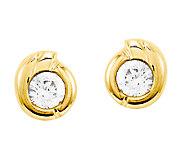 Round Crystal Swirl Post Earrings, 14K Gold - J338431