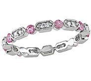 Pink Sapphire & Diamond Eternity Band Ring, 14KWhite Gold - J340831