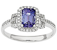 1.20 ct Tanzanite and 1/5 cttw Diamond Ring 1 4K White Gold - J342231