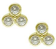 Judith Ripka Sterling/14K Yellow Clad Diamonique Stud Earrings - J343031