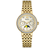 Bulova Goldtone Diamond-Accent Moon Phase Womens Watch - J343131