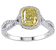 Cushion Cut Yellow Diamond Ring, 14K, 1.30 cttw, by Affinity - J344431
