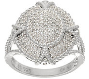 Pave White Diamond Filigree Ring Sterl, 1/3cttw by Affinity - J345931