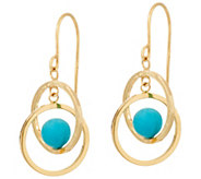 Turquoise Circle Dangle Earrings 14K Gold - J348631