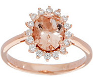 Diamonique and Simulated Morganite oval Ring, 14K Rose Clad - J349931