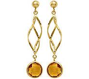14K Gemstone Spiral Dangle Post Earrings - J375031