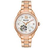 Bulova Womens Rosetone Automatic Movement Watch - J375131