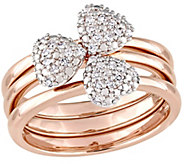 3-pc Diamond Heart Stack Rings, 14K Rose Gold,by Affinity - J375331