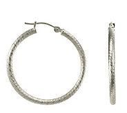 EternaGold 1 Diamond-Cut 14K White Gold Tube Hoop Earrings - J110432