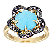 Sleeping Beauty Turquoise & Amethyst Floral Design Ring, 14K Gold - J291232