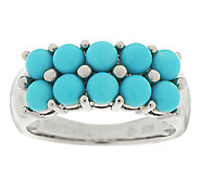 Sleeping Beauty Turquoise Cluster Design Sterling Ring - J294532
