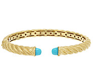 Judith Ripka Sterling 14K Gold Clad Sleeping Beauty Turquoise Cuff - J296232