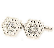 Forza Mens Steel Hexagon-Shaped Cuff Links with Crystals - J297232