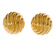 Veronese 18K Clad Wavy Ribbed Button Earrings - J299032