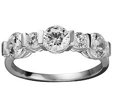 Epiphany Diamonique 1.70 ct tw 5-Stone Band Ring