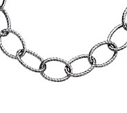 Stainless Steel 20 Textured Oval Link Necklace - J311232