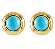 Round Turquoise Omega Back Stud Earrings, 14K Gold - J314032