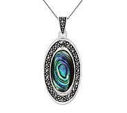 Sterling Marcasite and Abalone Oval Pendant w/Chain - J314132