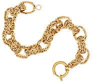 14K Gold 7-1/4 Bold Polished Byzantine Rolo Link Bracelet, 16.0g - J318732