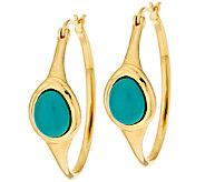 As Is Veronese 18K Clad  Turquoise Cabochon Hoop Earrings - J318832