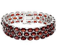 Mozambique Garnet Triple Row 7-1/4 Sterl. Bracelet 63.00 ct tw - J319132