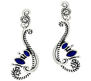 Sterling Silver Lapis Drop Earrings by American West - J321032