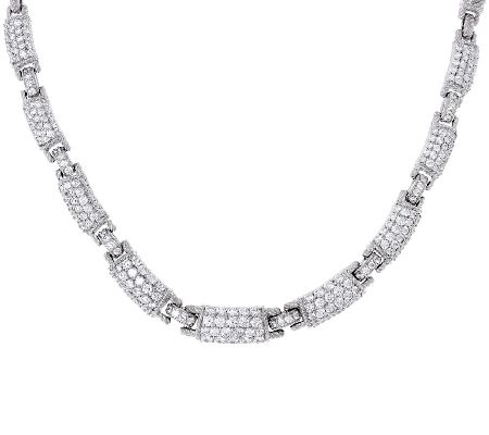 Judith Ripka Sterling 10.0 cttw Pave' Diamonique Link Necklace - J321732