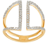 14K Gold Two-Tone Diamond Cut Open Design Ring