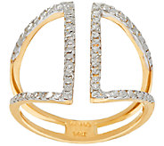 14K Gold Two-Tone Diamond Cut Open Design Ring - J322132