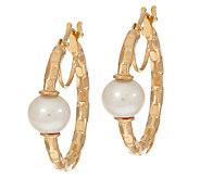 Honora 14K Gold Cultured Pearl 6.0mm Diamond Cut Hoop Earrings - J322232