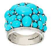 Sleeping Beauty Turquoise Bold Cluster Design Sterling Ring - J323232