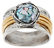 Sterling Silver Roman Glass Spinner Ring by Or Paz - J323532