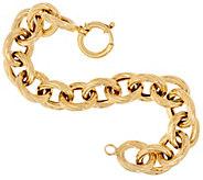 14K Gold 6-3/4 Bold Textured Rolo Link Bracelet, 14.3g - J324632