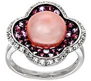 As Is Honora Cultured Pearl 10.5mm & Multi- Gemstone Sterling Ring - J325832