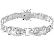 As Is UltraFine Silver 7-1/4 Panther Head Bracelet, 31.8g - J326232