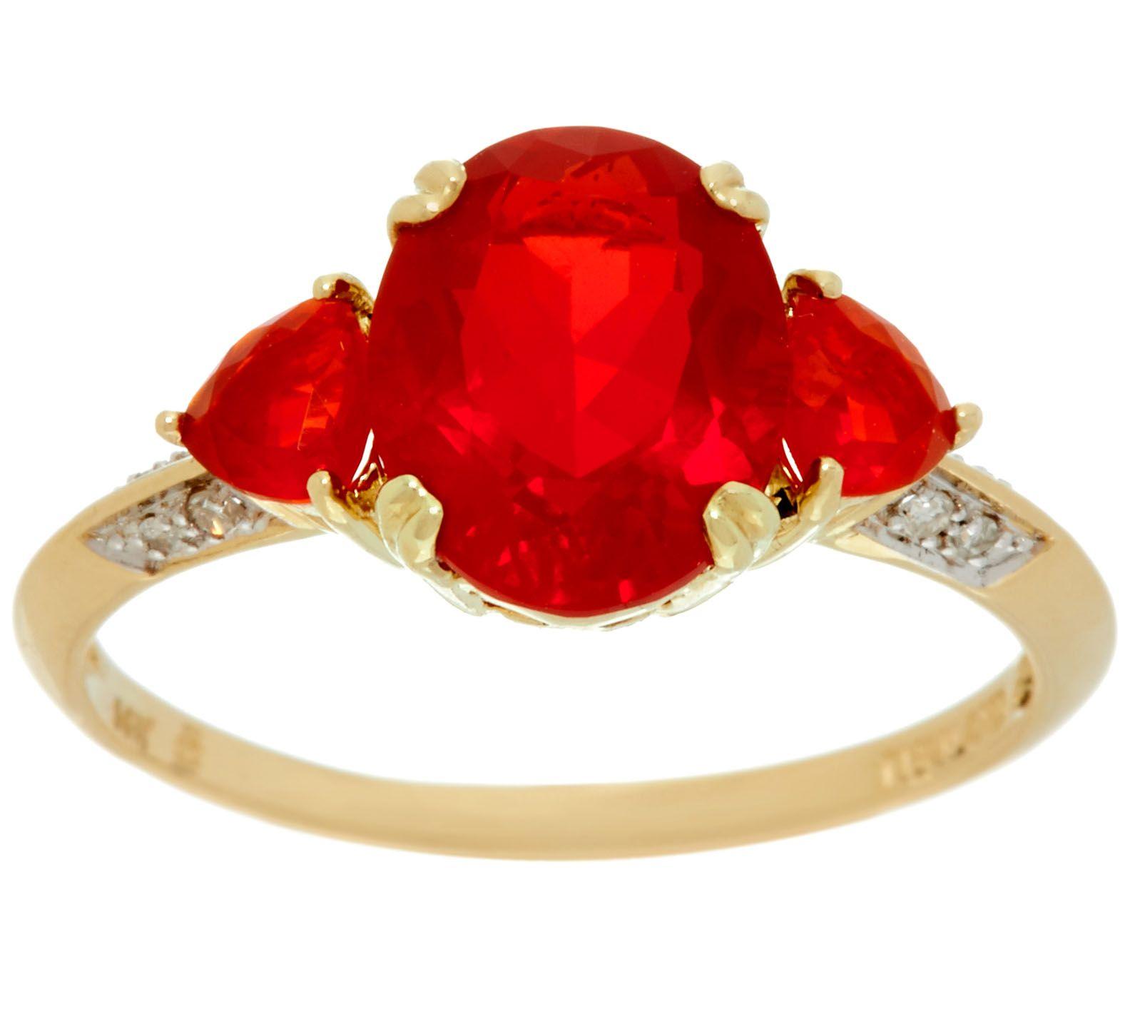 Mexican Fire Opal & Diamond 3-Stone Ring 14K, 2.00 cttw ...  Mexican Fire Op...