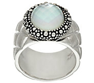 As Is Michael Dawkins Sterl. Quilt Texture Mother of Pearl Doublet Ring - J332632