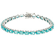 Blue Apatite Sterling Silver 8 Tennis Bracelet 10.50 cttw - J334032