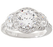 Diamonique Three Stone Halo Ring, Platinum Clad - J335032