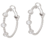 Judith Ripka Sterling Diamonique Station 1 Hoop Earrings - J335332