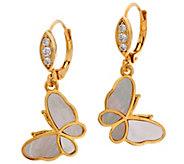 Lauren G Adams Goldtone Mother-of-Pearl Butterfly Drop Earrings - J347732