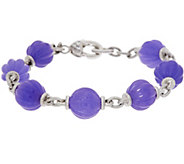 Judith Ripka Sterling Fluted Jade Bead 6-3/4 Bracelet - J348232