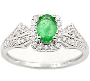 0.40 ct Emerald & 1/4 cttw Diamond Ring, 14K White Gold - J377032
