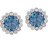 14K 3.15 cttw London Blue Topaz & 1/4 cttw Diamond Earrings - J377832