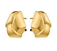 14K Knotted Omega Back Post Earrings - J378932