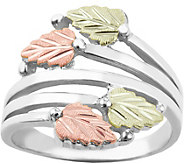 Black Hill Bypass Leaf Ring Sterling Silver, 12K Gold - J379432