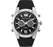 Sean John Mens Silvertone Analog Digital BlackSilicone Watch - J380832