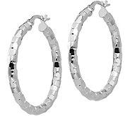 Italian Gold 1-1/4 Textured Round Hoop Earrings, 14K - J381732