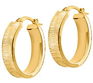 Italian Gold 1 Oval Textured Hoop Earrings 14K, 3.2g - J382232