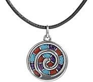 American West Sterling Gemstone Inlay Spiral Necklace - J382632